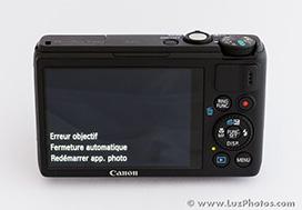 """Canon PowerShot S100 - Message """"Erreur objectif"""""""
