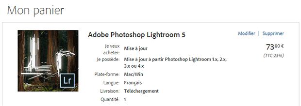 Panier par défaut lors de l'achat de Lightroom 5 en version autonome