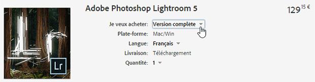 Panier modifié avec la version complète de Lightroom 5 version autonome
