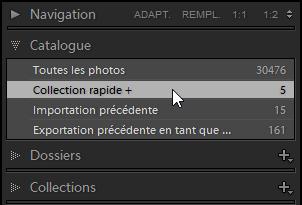 Panneau catalogue - Collection rapide