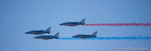 Vol en formation de 4 avions de la patrouille de France
