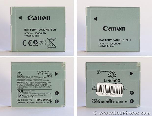 Comparaison entre une batterie Canon NB-6LH authentique et une batterie d'origine douteuse