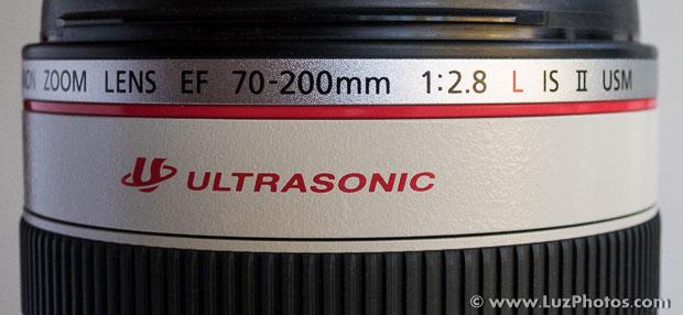 Dénomination et sigles sur le fût de l'objectif Canon 70-200mm f/2,8 L IS II USM