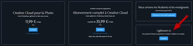 Acheter Lightroom 6 sans abonnement : bouton acheter