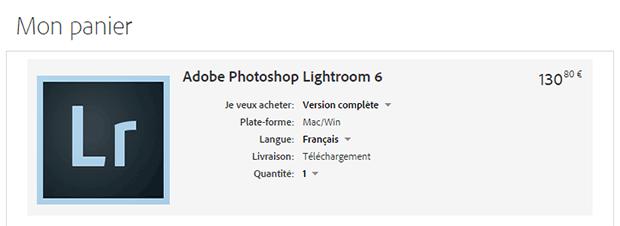 Acheter Lightroom 6 sans abonnement - panier