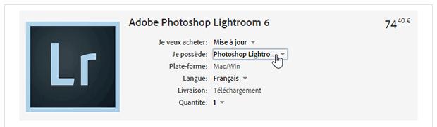 Acheter Lightroom 6 sans abonnement - modification du panier