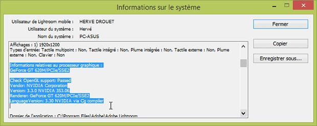 """Fenêtre Lightroom """"informations sur le système"""" : informations relatives au processeur graphique"""