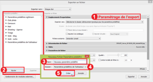 Fenêtre Exporter Lightroom - Enregistrement d'un export