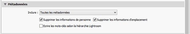 Fenêtre Lightroom exporter - Panneau Métadonnées