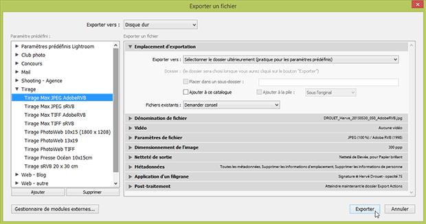Fenêtre Lightroom exporter - lancement d'un export prédéfini