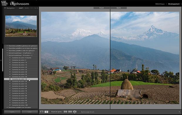Lightroom 6.1 - Paramètres prédéfinis de correction du voile (presets dehaze) - Choix d'un preset - Mode d'affichage Avant / Après