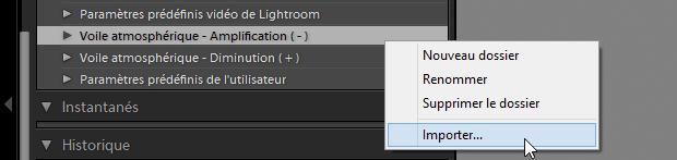 Lightroom 6.1 - Import des paramètres prédéfinis de correction du voile (presets dehaze)