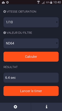 Application Android filtre ND - ND Filter Calculator