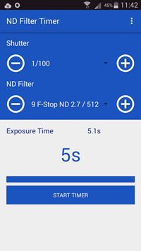 Application Android filtre ND - ND Filter Timer