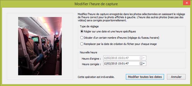 Fenêtre Lightroom - Modifier l'heure de capture d'une photo