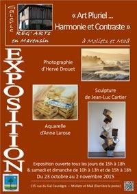 Affiche de l'exposition photo (Hervé Drouet) peinture (Anne Larose) et sculpture (Jean-Luc Cartier) à Moliets du 23 octobre au 2 novembre 2015