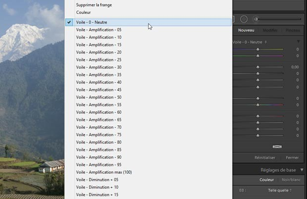 Ouverture de la liste des presets locaux pour choisir un preset local de correction du voile (dehaze)