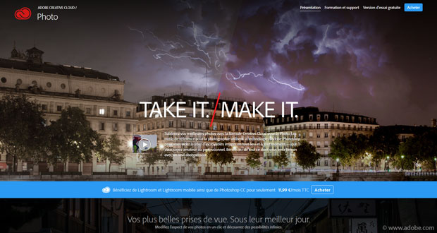 Offre Creative Cloud pour la Photo sur le site d'Adobe