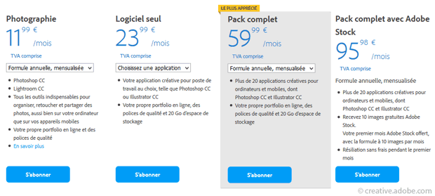 Prix des abonnements individuels Adobe Creative Cloud dont le pack Photographie
