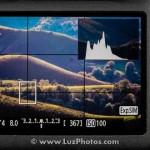Vue de l'écran arrière d'un appareil photo en mode live view avec affichage de l'histogramme