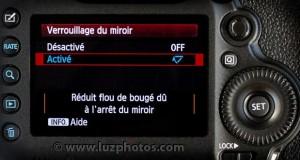 Menu d'activation du verrouillage du miroir (Canon EOS 5D mark III)