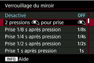 Nouveau menu Verrouillage du miroir sur le Canon EOS 5DS