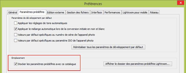 """Problème d'installation des plugins Nik Collection dans Lightroom avec l'option """"Stocker les paramètres prédéfinis avec ce catalogue"""" cochée"""