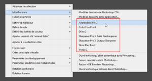"""Installation Nik Collection - Plugins (ceux entourés en rouge dans l'image) introuvables dans le menu """"Photo - Modifier dans..."""" de Lightroom"""