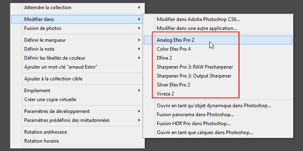 """Plugins Nik Software (ceux entourés en rouge dans l'image) introuvables dans le menu """"Photo - Modifier dans..."""" de Lightroom après installation de Google Nik Collection"""
