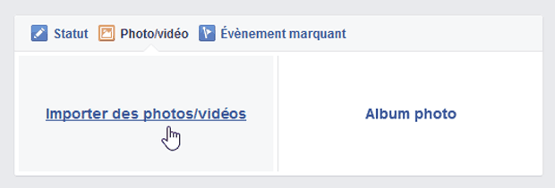 Facebook - Import de photos sur le journal