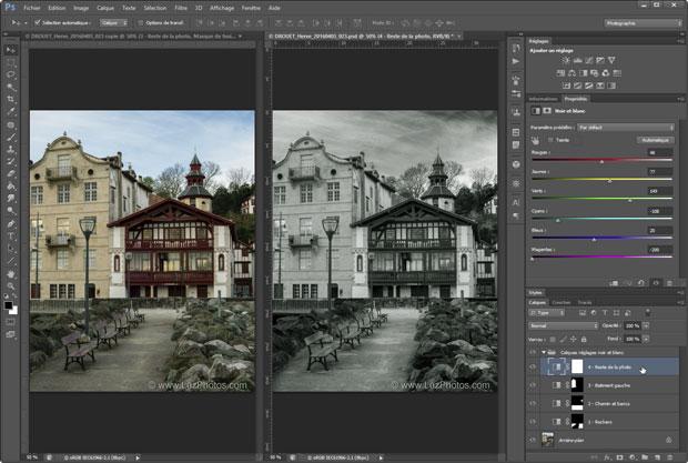 Conversion d'une photo couleur en noir et blanc par l'ajout de plusieurs calques de réglages noir et blanc (réglages localisés)