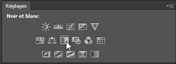 Panneau des réglages Photoshop : ajout d'un calque de réglage noir et blanc par clic sur sur l'icône correspondant