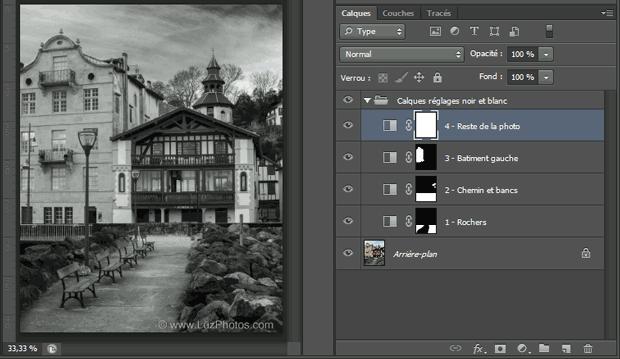 Conversion en noir et blanc Photoshop : affichage des calques de réglages avec leurs masques de fusion