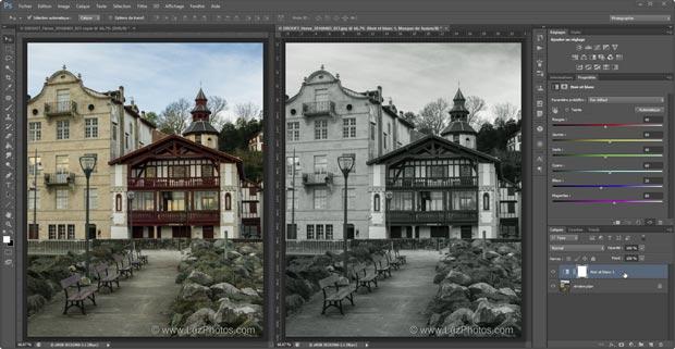 Noir et blanc Photoshop : visualisation simultanée de la photo couleur d'origine et de la photo convertie en noir et blanc
