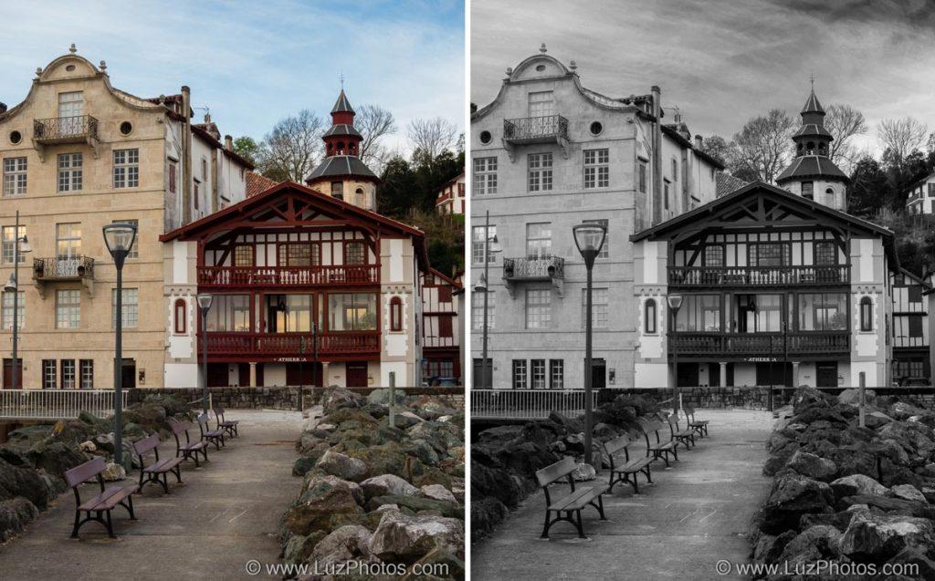 Comparaison de la photo couleur d'origine et de la photo convertie en noir et blanc avec la méthode utilisant plusieurs calques de réglages noir et blanc