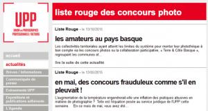 Les règlements concours photo illégaux - La liste rouge de l'UPP