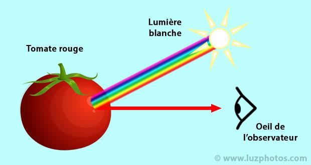 Balance des blancs - couleur des objets (exemple d'une tomate rouge)