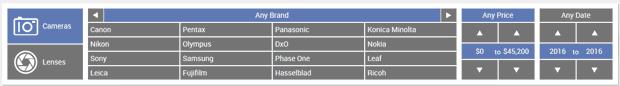 Après une première sélection d'APN sur le site DxO, apparition du critère de prix