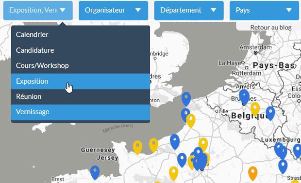 """Carte des évènements photo : choix """"Exposition"""" et """"Vernissage"""" dans le menu """"Calendrier"""""""