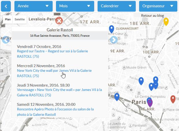 Carte des évènements photo : zoom sur un lieu où se tiennent des expositions, vernissage et rencontre photo