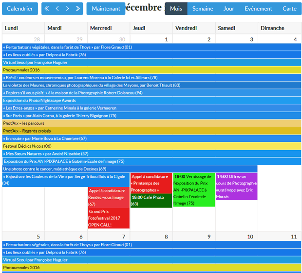 Liste des évènements photo sous forme d'un tableau mensuel : expositions, festivals photo, appel à candidature, Cours/Workshop, rencontres et conférences photo...