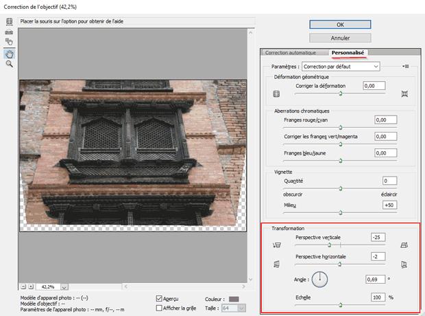 Redresser les perspectives avec Photoshop par le filtre Correction de l'objectif - Panneau Transformation