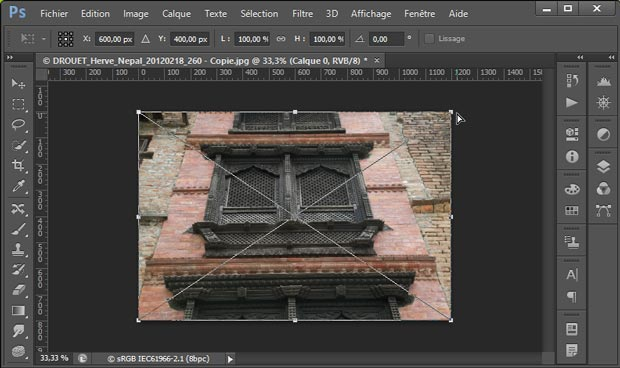 Redresser les perspectives avec Photoshop par le menu Edition - Transformation - Perspective