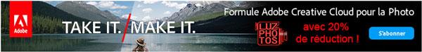 Promotion sur la formule Adobe Creative Cloud pour la photo avec LuzPhotos (réduction de 20% sur la première année)