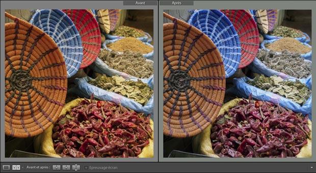 Comparaison visuelle sous Lightroom de 2 photos avec des balances des blancs différentes