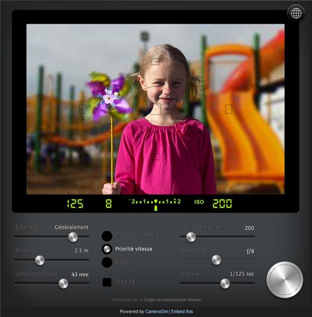Simulateur d'appareil photo numérique (APN) CameraSim - Réglages (mode d'exposition, ouverture, vitesse d'obturation et sensibilité...)