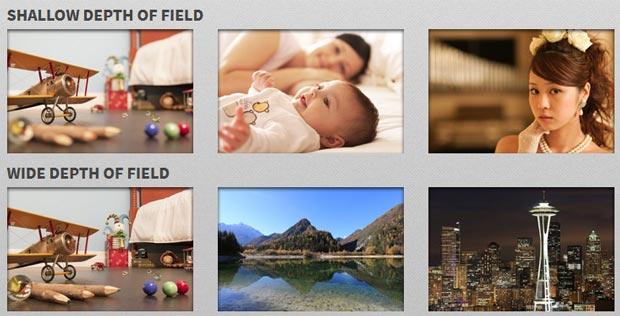 Simulateur d'exposition photo Canon - Photos avec effets de profondeur de champ (faible et grande)