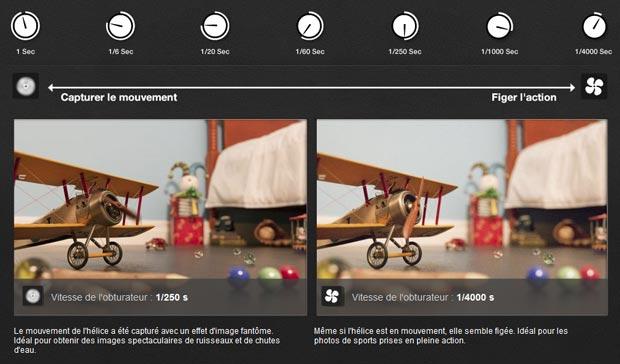 Simulateur d'APN Canon - Explication de l'effet visuel de la vitesse d'obturation sur un sujet en mouvement