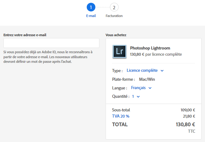 Acheter Lightroom en licence permanente (sans abonnement) - choix version