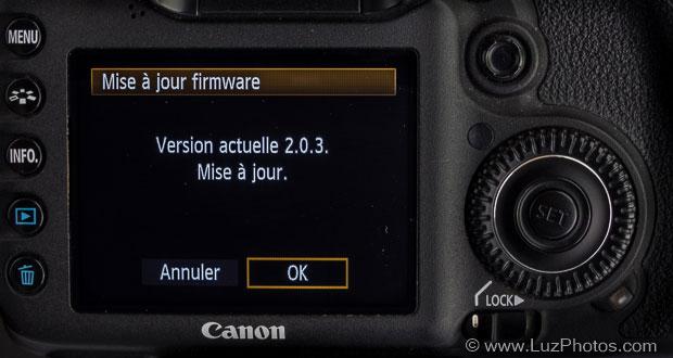 Lancement de l'opération de mise à jour d'un firmware Canon